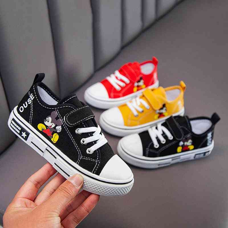 Spring Autumn Canvas Shoes, Cartoon, Mickey Mouse, Girl Sneaker, Breathable, Shoes For Boy