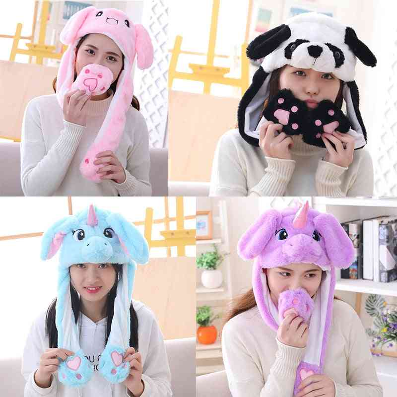 Girl Plush Moving Rabbit Ears, Hat, Cartoon Stich Cap, Kids Party, Unicorn Airbag, Anime Hats, Women Move Jumping Ear