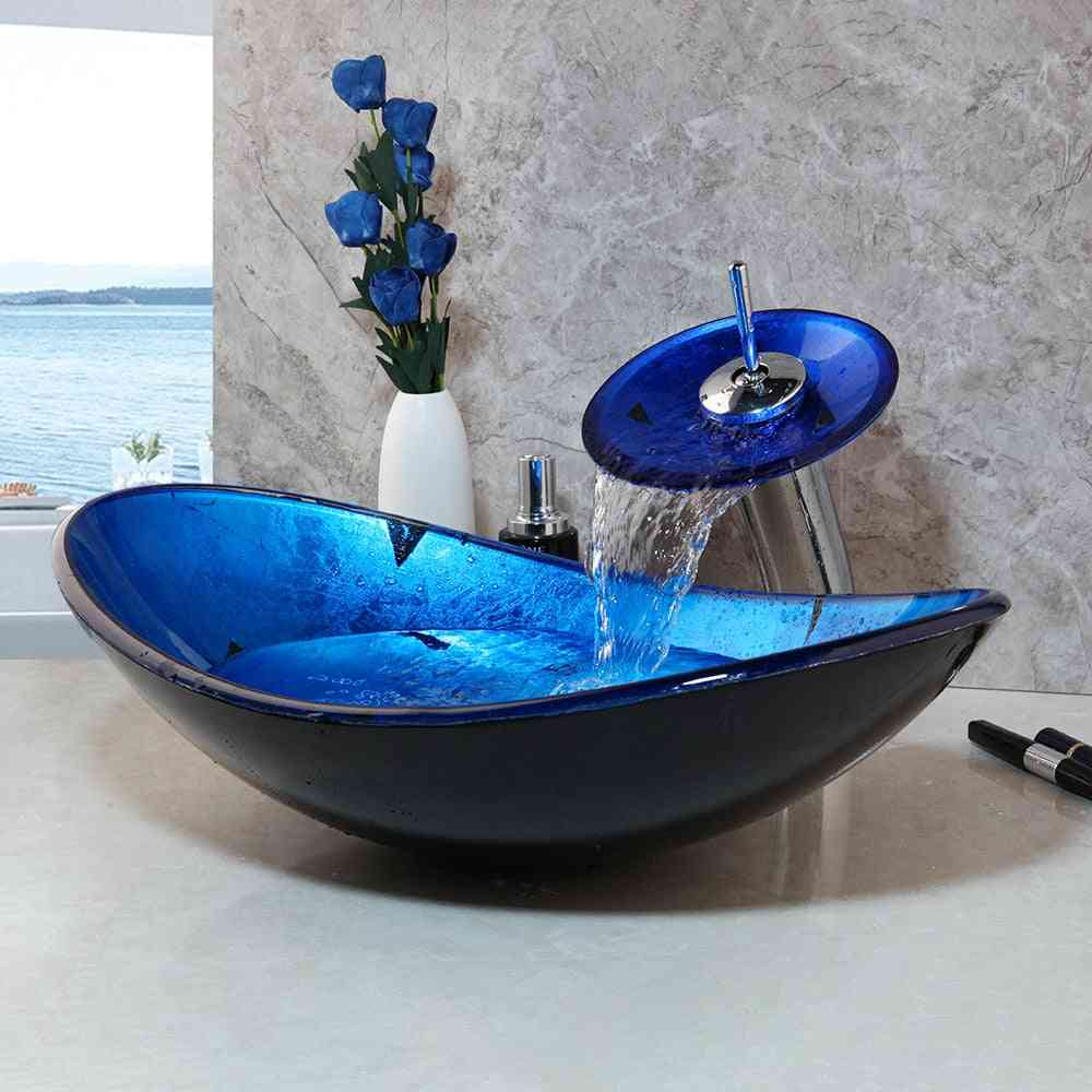 Blue Bathroom Washbasin, Countertop, Tempered Glass Basin, Sink, Faucet Set, Brass Waterfall Washroom Vessel Vanity Bar