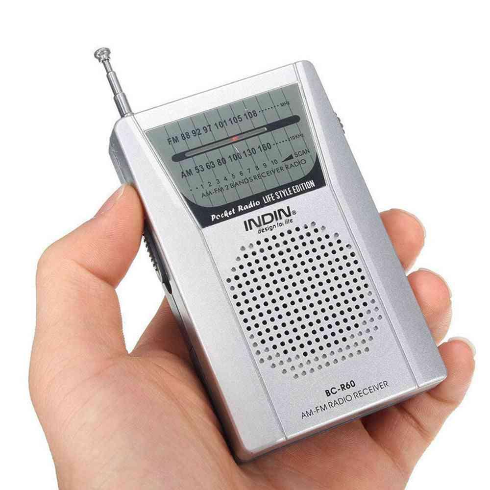 Pocket Radio Telescopic Antenna, Mini Am/ Fm 2-band World Receiver With Speaker, Earphone Jack, Portable