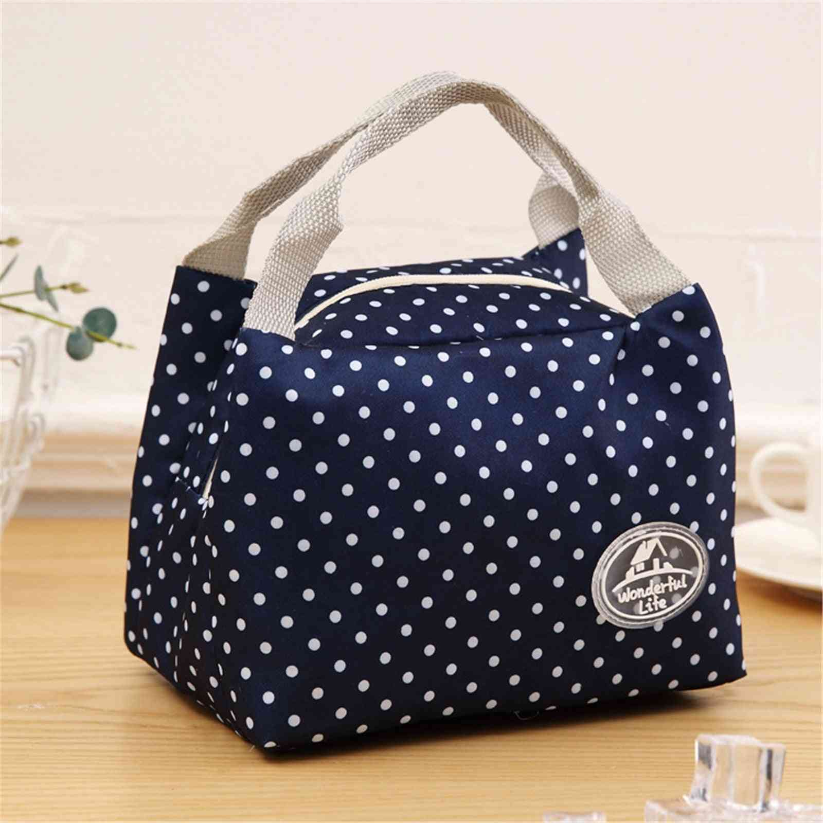1pc Portable High Quality Insulated Cold Canvas Stripe Picnic Carry Case