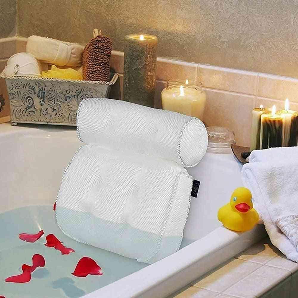 Large Suction Cups Spa Bathtub Head Rest Pillow Bath Pillow Bathtub Spa Pillow Non-slip For Head Rest Cushioned Bath Tub (white)