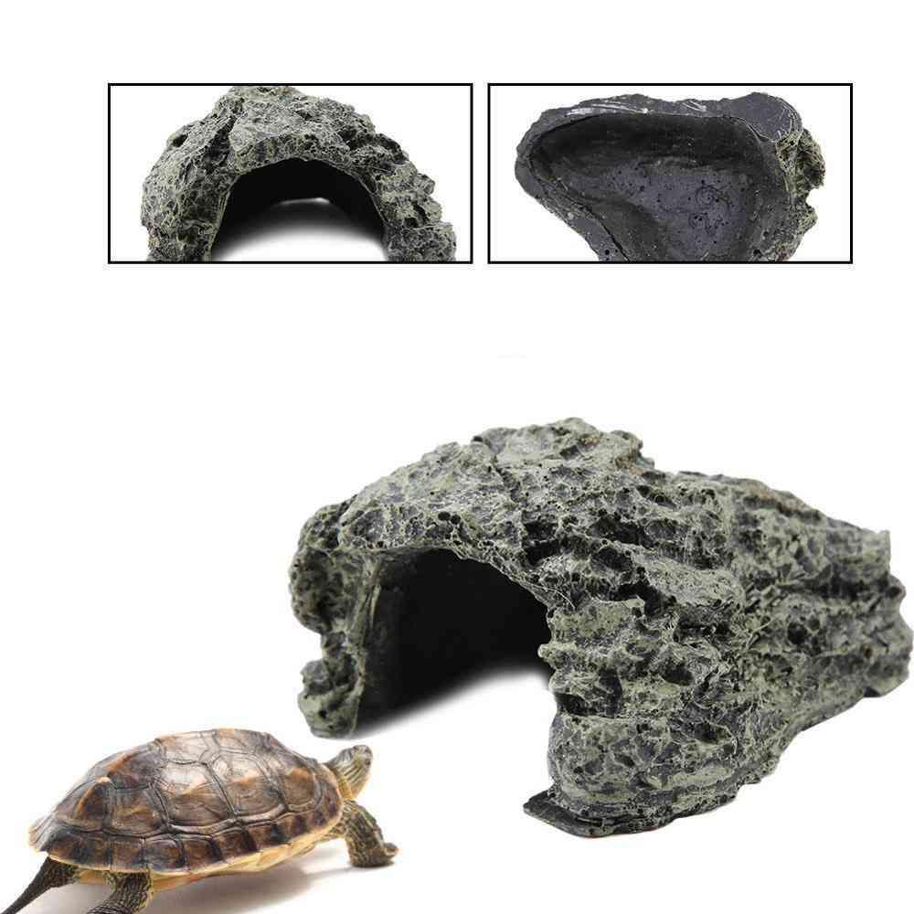 Aquarium Turtle Reptile Hiding, Habitat Basking Hide Landscaping Cave