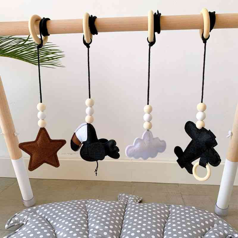 Solid Wood Fitness Rack Pendant, Room Decoration Infants Baby Gym Toy