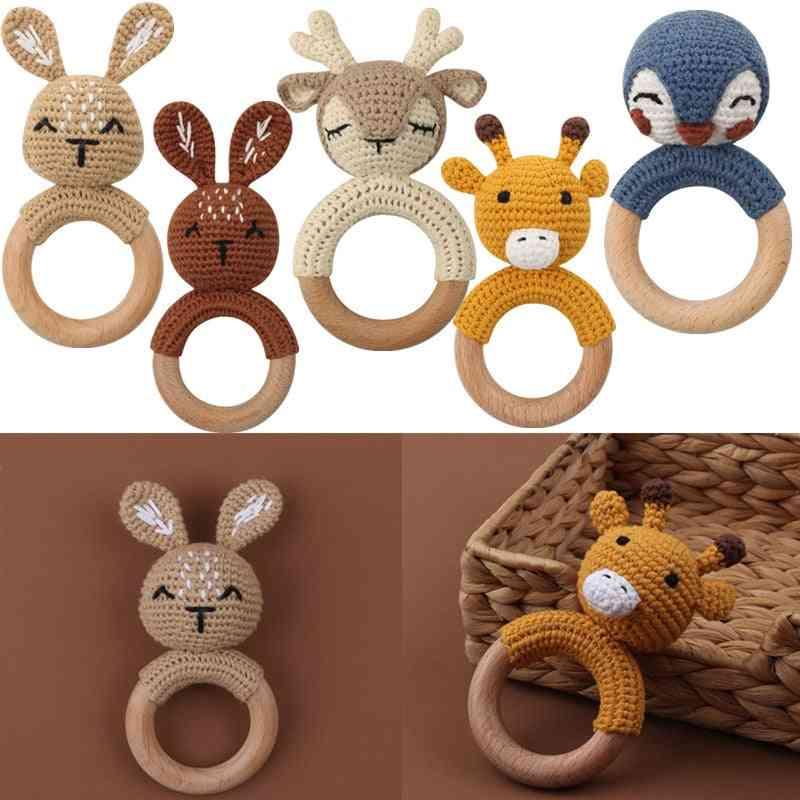 Wooden Teether Crochet Cartoon Baby Rattle Toy