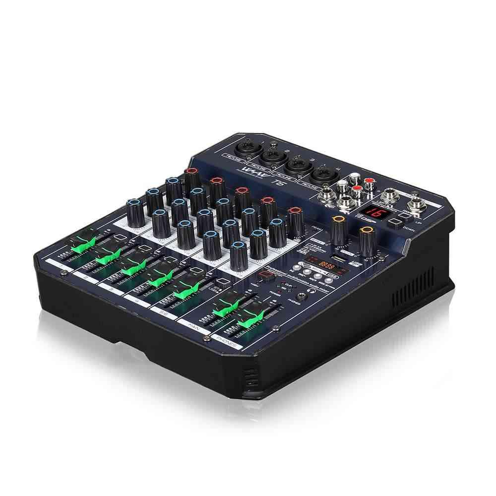 Mini 2 4 Channel Mixer Audio Dj Controller Usb Bluetooth Karaoke Sound Card