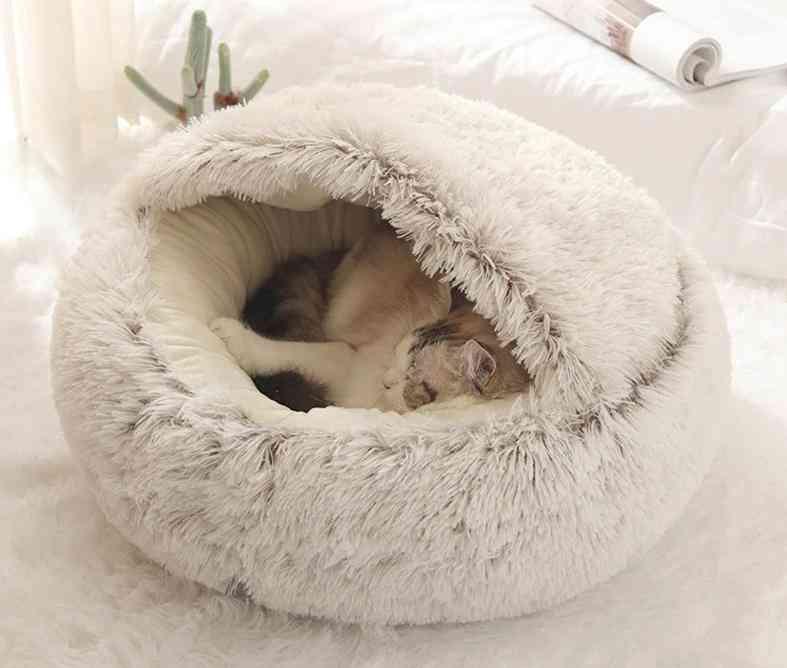 Round Plush Cat Bed, Warm Soft Long Nest