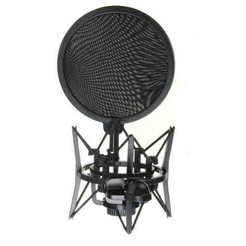 Audio Mic Microphone Shock Mount Stand Holder With Integrated Pop Filter Screen Professional