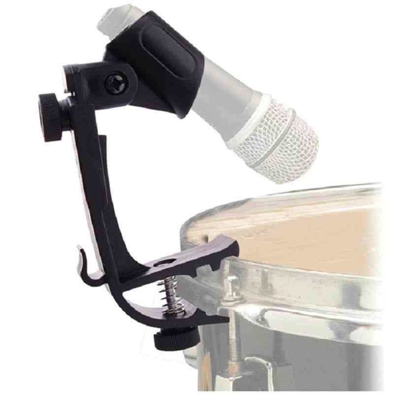 Durable Clip On Drum Rim Shockproof Mount Support Adjustable Microphone Mic Clamp Stand Holder