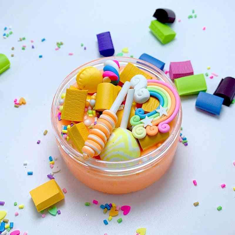 Rainbow Lollipop Charms Clear Slime Soft Clay Plasticine & Educational Toy