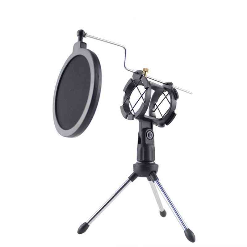 Mic Microphone Scissor Suspension Arm Stand And Table Mounting Clamp, Filter Windscreen Shield, Metal Mount Kit