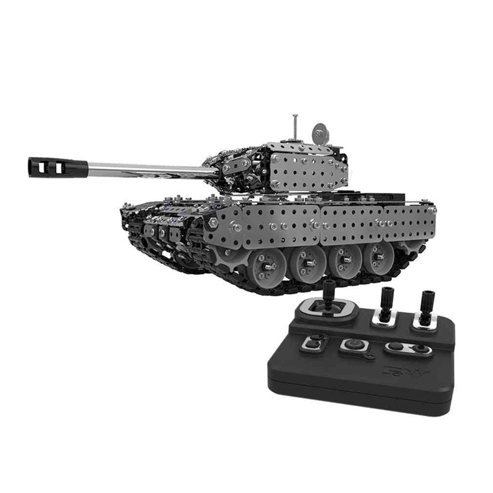 Stainless Steel Remote Control Rc Military Tank Model Toy  (silver)