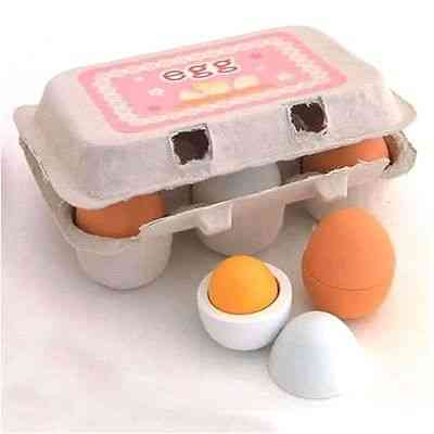 Wooden Simulation Eggs Yolk Pretend Play  (as Picture Show)