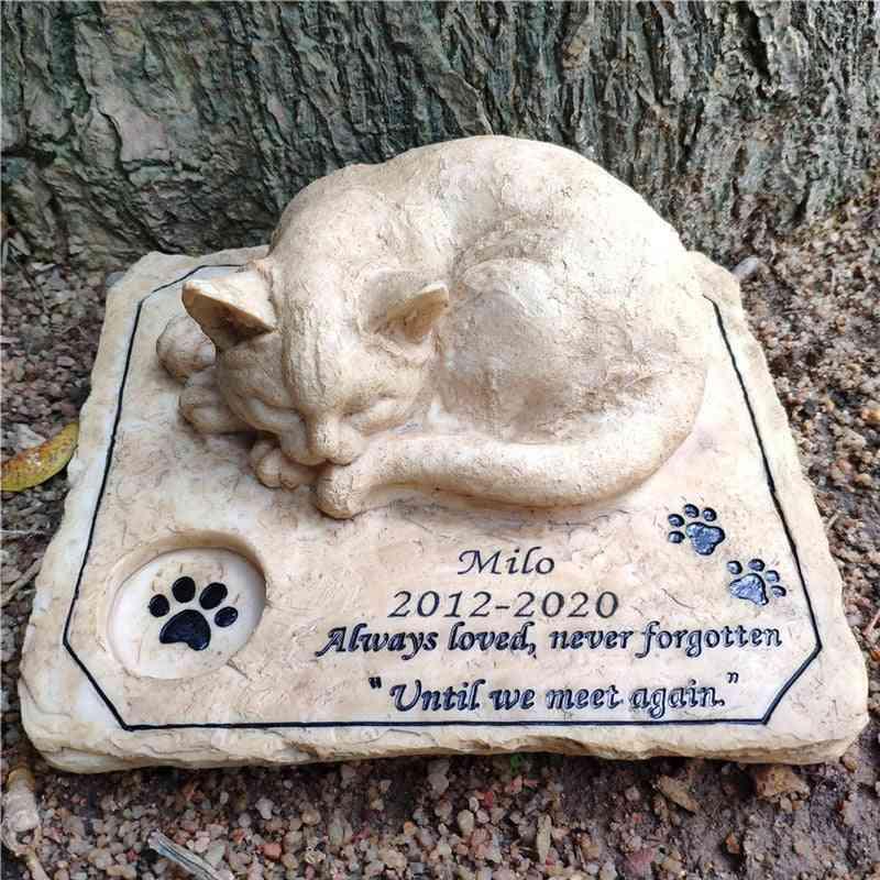 Cat Memorial- Pet Grave With 3d Sleeping Markers, Garden Stone