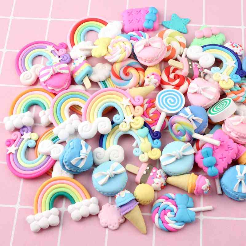Mix Candy Lollipop, Polymer Clay Figurines For Craft Phone Arts,
