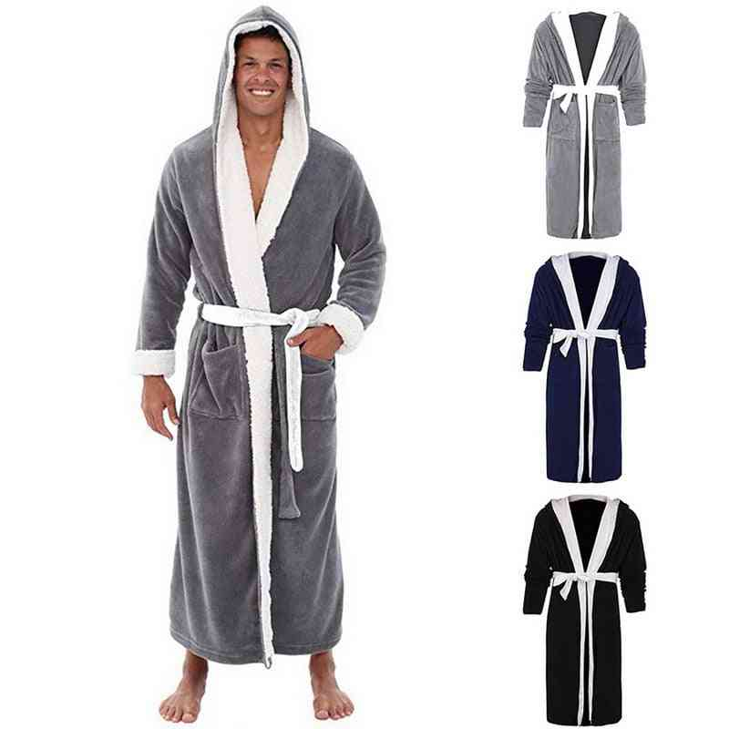 Winter- Coral Fleece Bathrobe, Warm Flannel Cozy Robes, Night Sleepwear