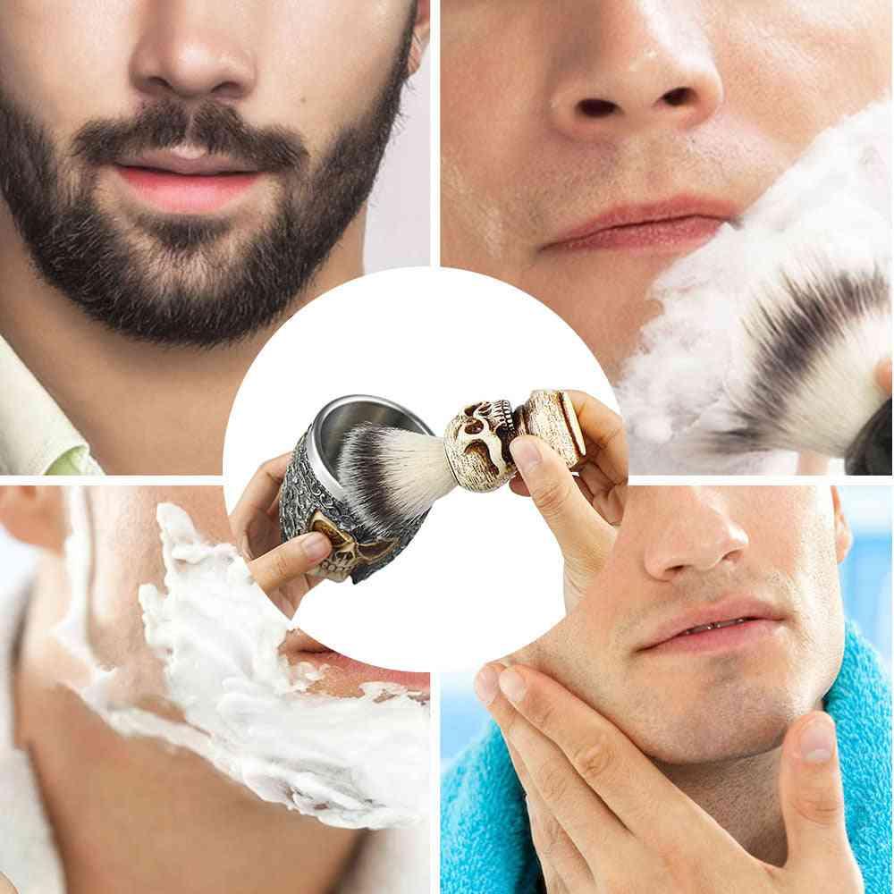 High-end Skull Design Shaving Brush Foaming Soap Bowl Set