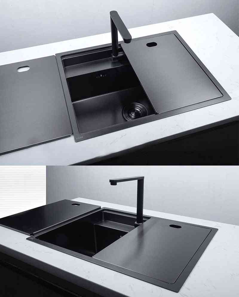 Stainless Steel- Double Bowl, Hidden Kitchen Sinks With Folded Faucet Undermount