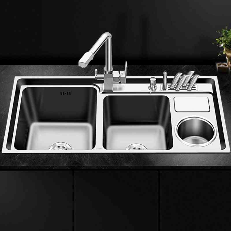 Stainless Steel- Nano Three Trough With Trash Knife Holder, Brushed Sink Set Kitchen