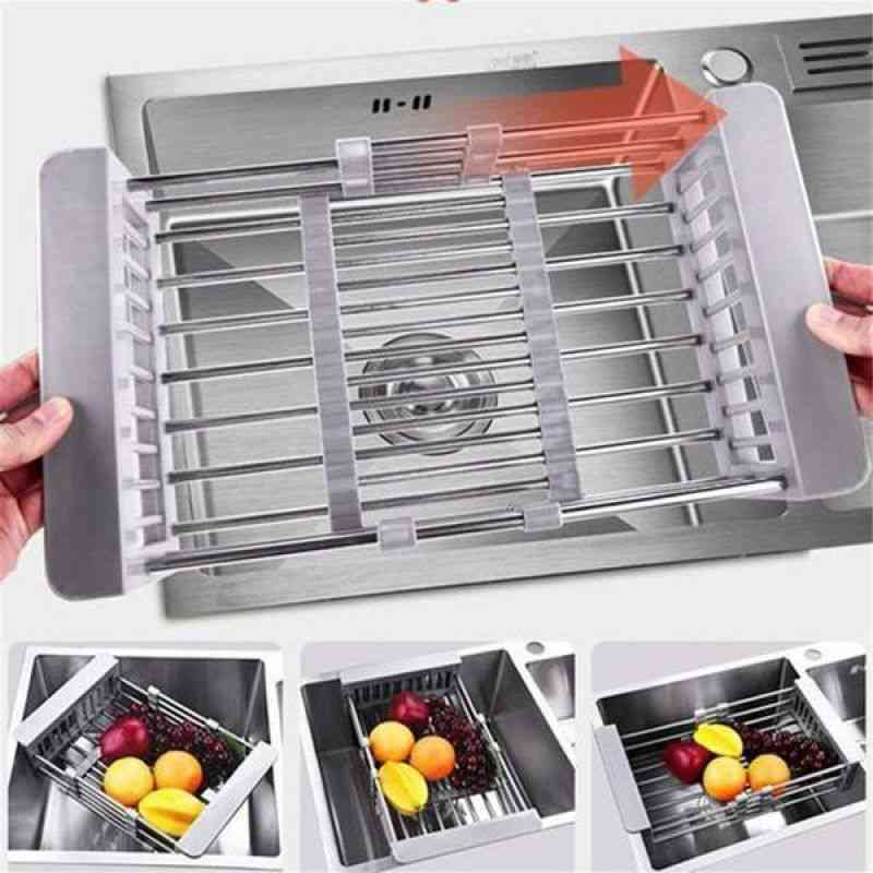 Stainless Steel- Dish Counter, Kitchen Retractable Rack, Water Filter Drain Basket
