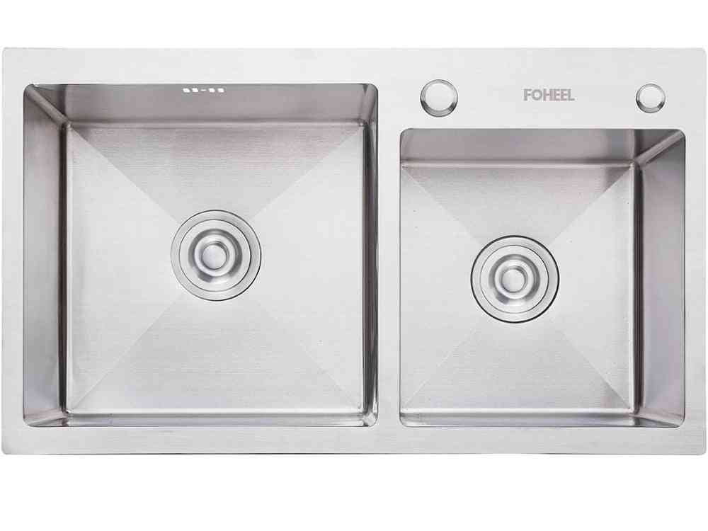 Stainless Steel- Double Bowl, Drain Basket And Pip Rectangular, Kitchen Sink