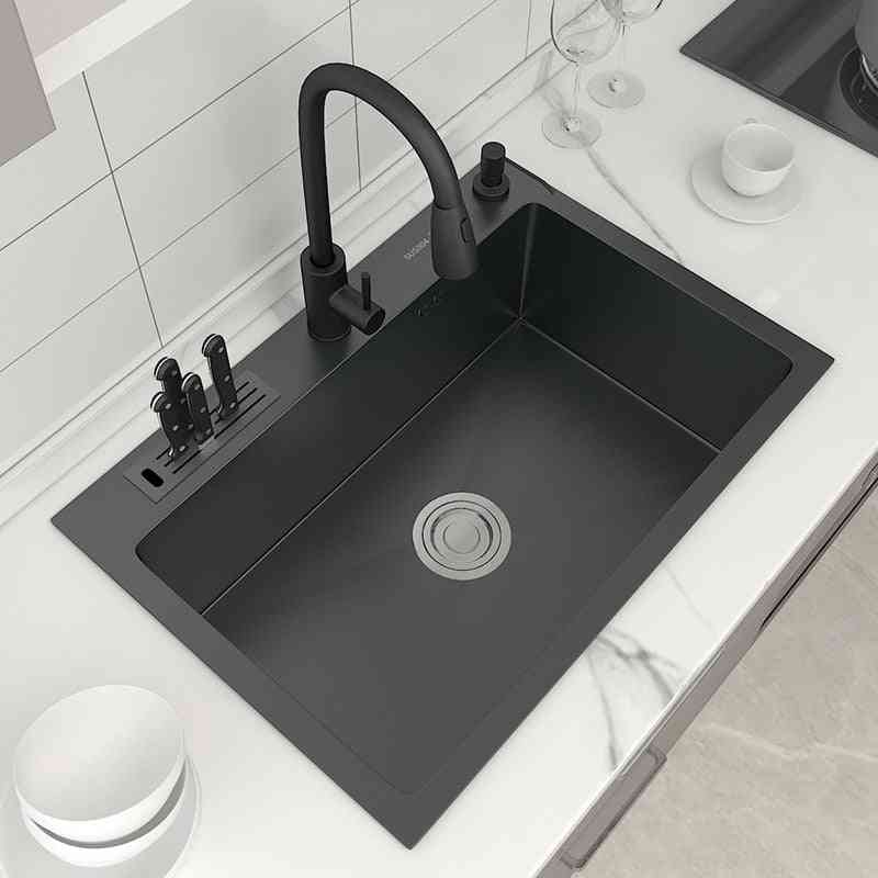 Stainless Steel- Top Mount Kitchen Sink, With Knife-holder, Single Bowl, Wash Basin