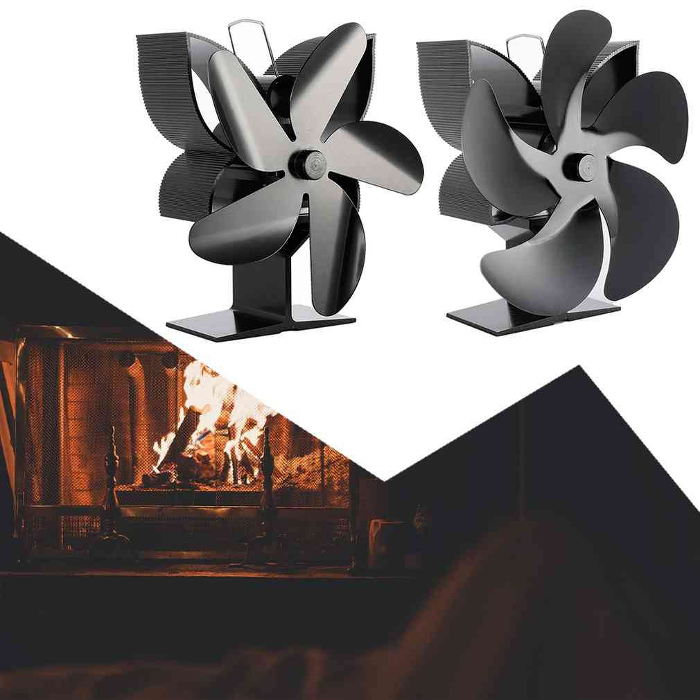 5-blades Black Thermal Power, Fireplace Heating Fan For Home