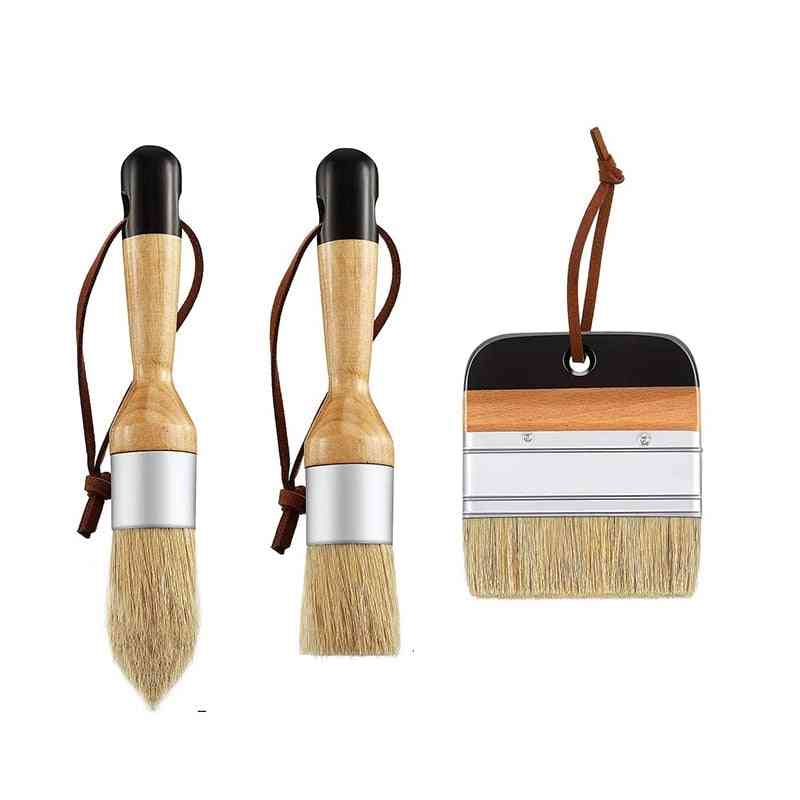 3pack Chalk And Wax Paint Brushes For Wood Furniture Home Wall Decor
