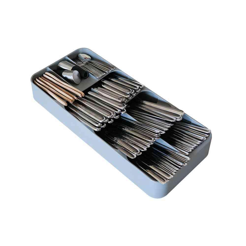 Plastic Knife Block Drawer, Forks Spoons, Storage Rack, Tray Holder