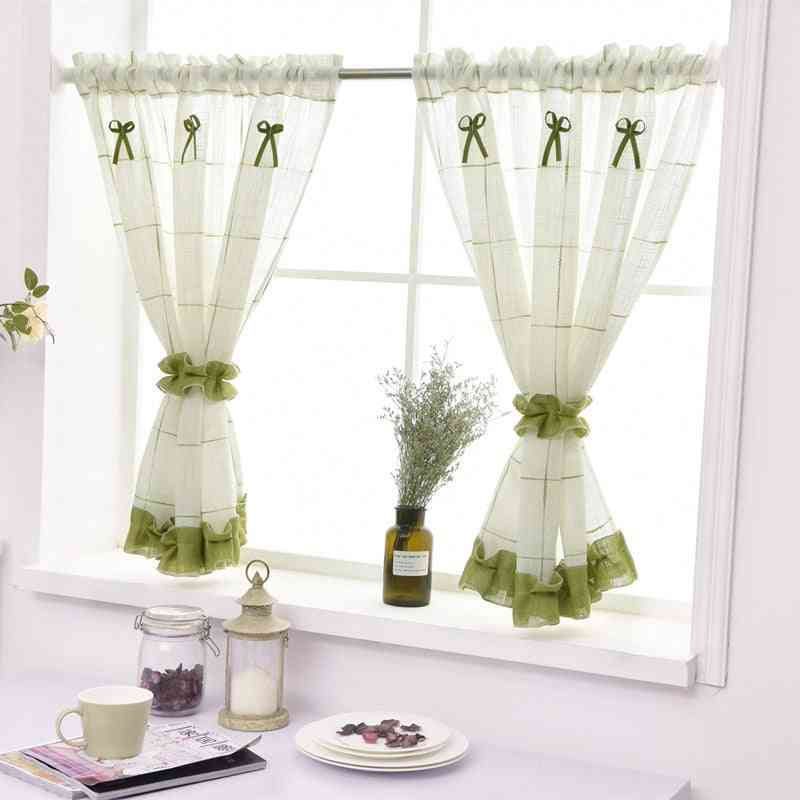 American Coffee Curtain With Short Window Valance For Home Decor
