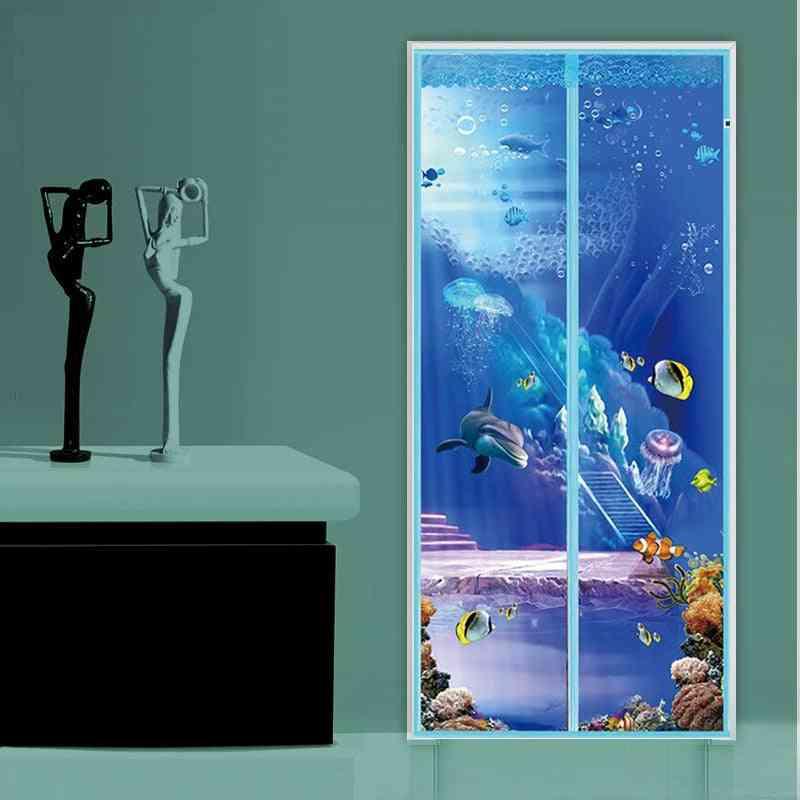 Anti Mosquito Magnetic Screen Door Cartoon Pattern Printed Curtain Fastener