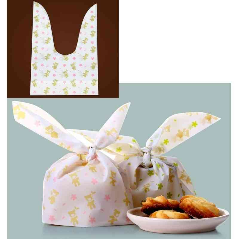 Cute Flower Printed, Rabbit Ear Design-plastic Bag For Biscuits/snack