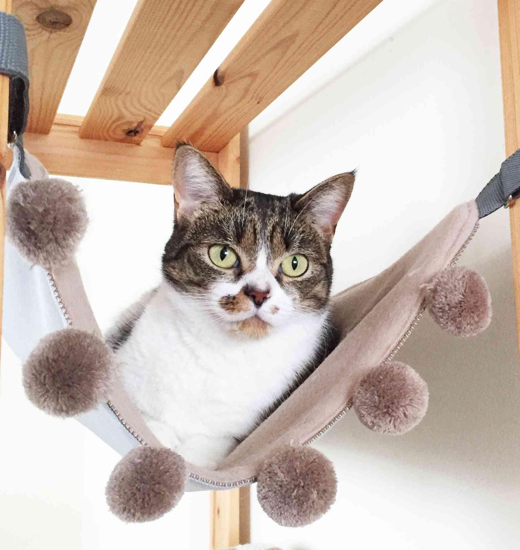 Saveplace® Hanging Mat/hammock For Storage & Pets With Big Pom-poms