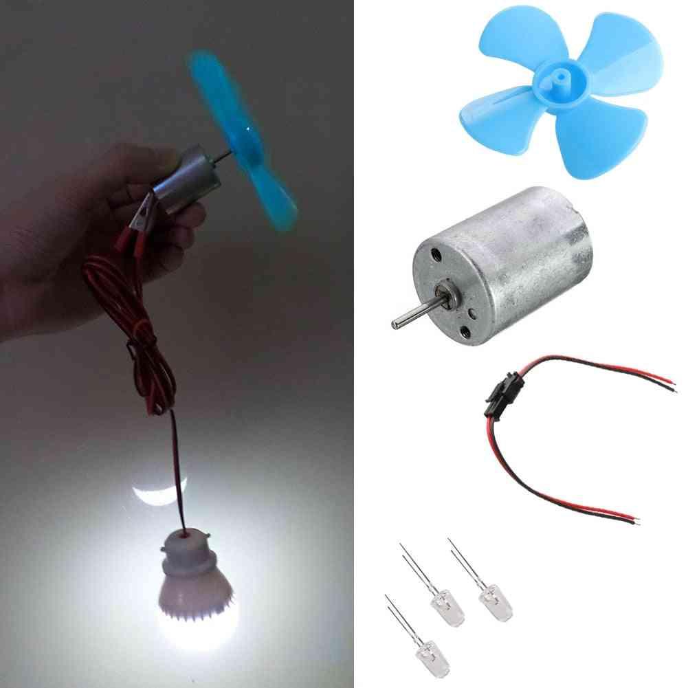 Diy Kits 6-9v Wind Turbine Micro Motor Mini Blue Leaf Paddle Diodes Cables