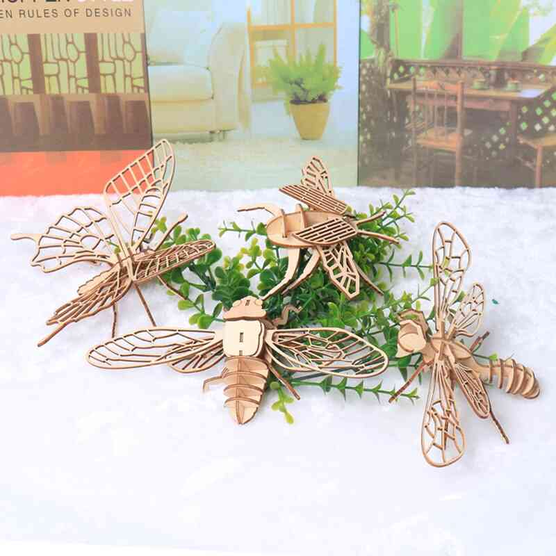 Baby Montessori 3d Puzzle Diy Jigsaw Board Wooden Insect