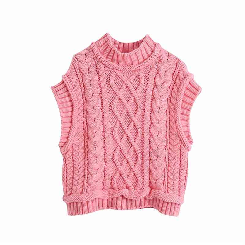 Women Casual Turtleneck Knitted Pullover Vest Autumn Chic Lady Sleeveless Sweaters Cute Jumpers
