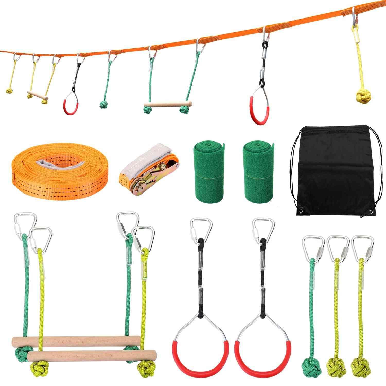 Ninja Line Climbing Equipment Rope Obstacle Training Kids Fun Slack Outdoor's Carabineer (gold)