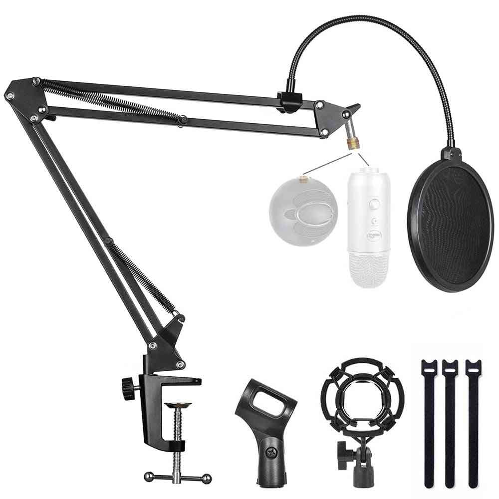 Microphone Stand With Mic Pop Filter And Shock Mount Boom Scissor Arm Bracke