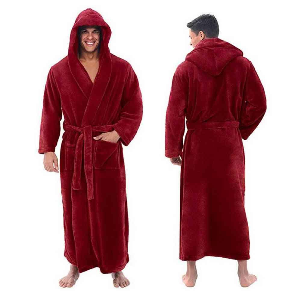 Men Flannel Hooded Thick Casual Long Kimono Warm Sleepwear Pajama Nightgown