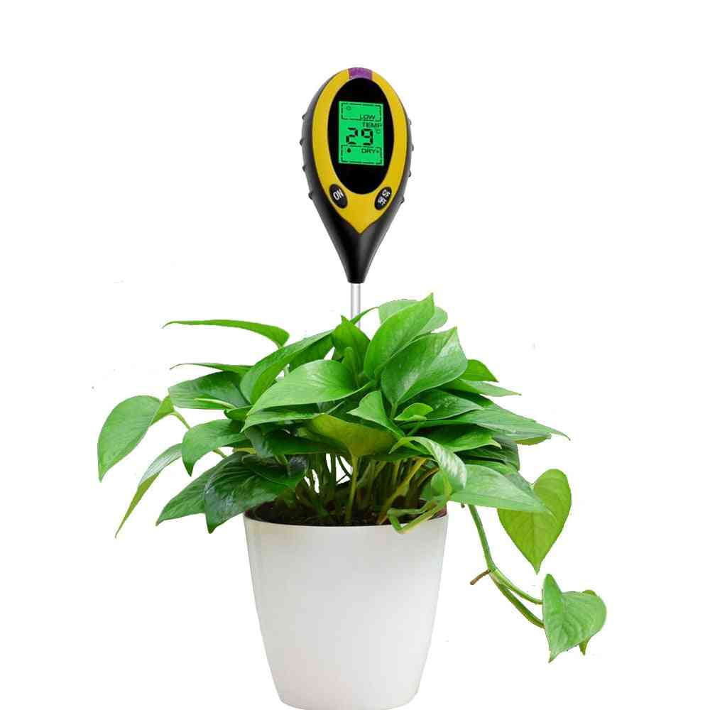 4-in-1 Soil Digital Temperature, Sunlight Fertility Hygrometer, Ph Meter Tester