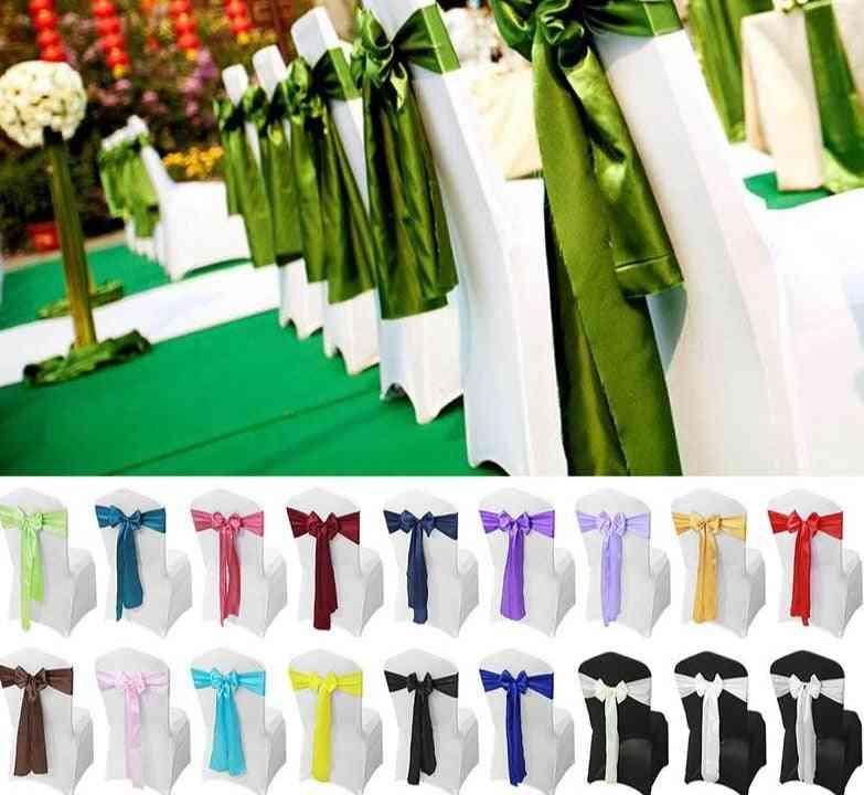 Satin Chair, Sashes Bow Ribbon, Party Decoration