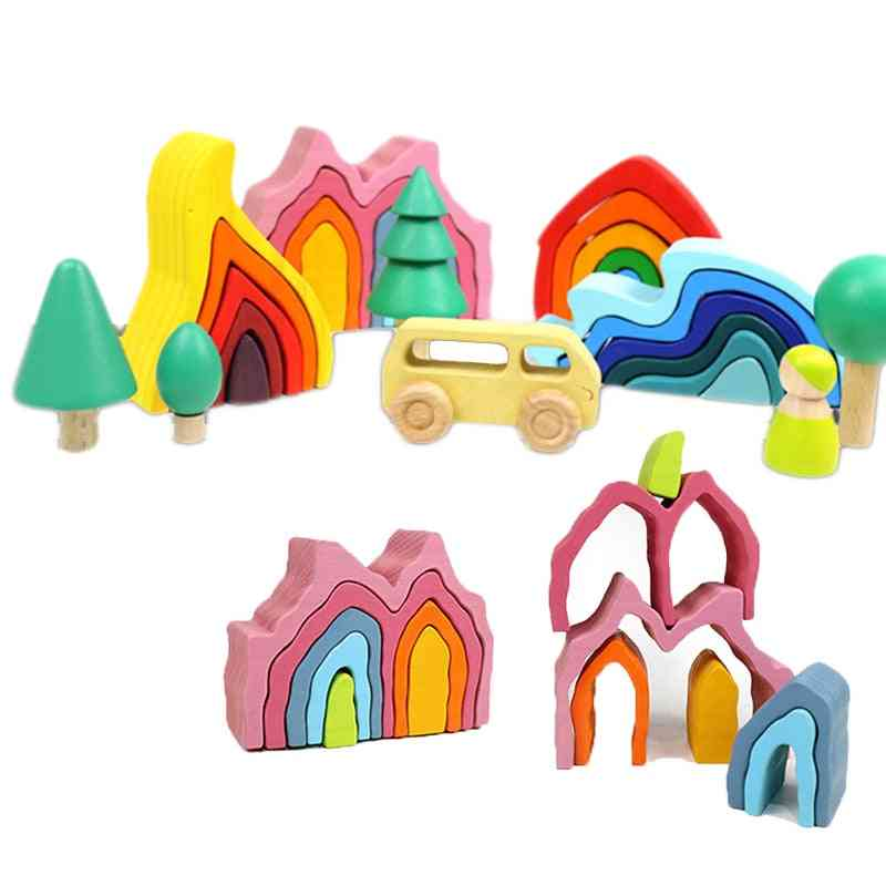 Assembled Building Montessori Wooden Rainbow Block Toy