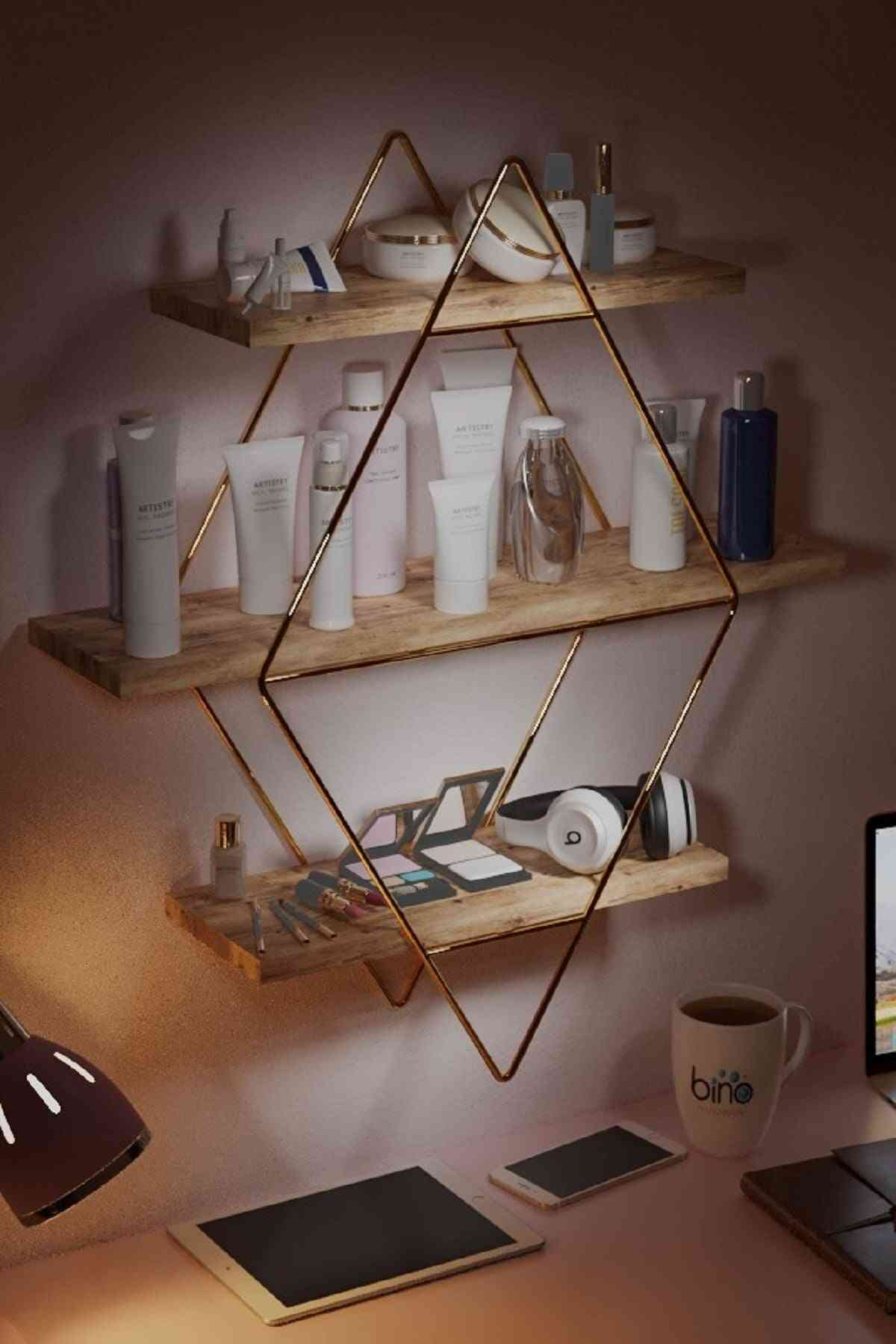 Large Size Prism Solid Wall Shelf Kitchen Bathroom Bookcase Mounted 3 Layers Wood Decoration Organizer Accessories Supplies