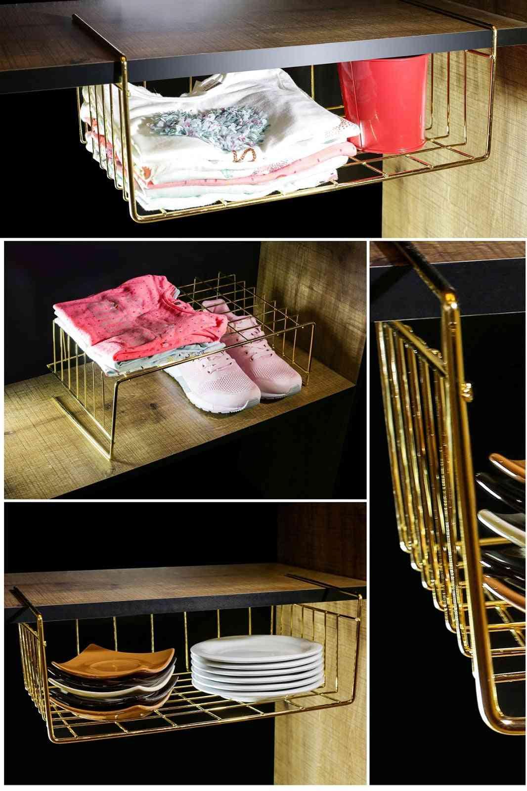 Cupboard Hanging, Under Shelf Storage Organizer, Iron Mesh Basket
