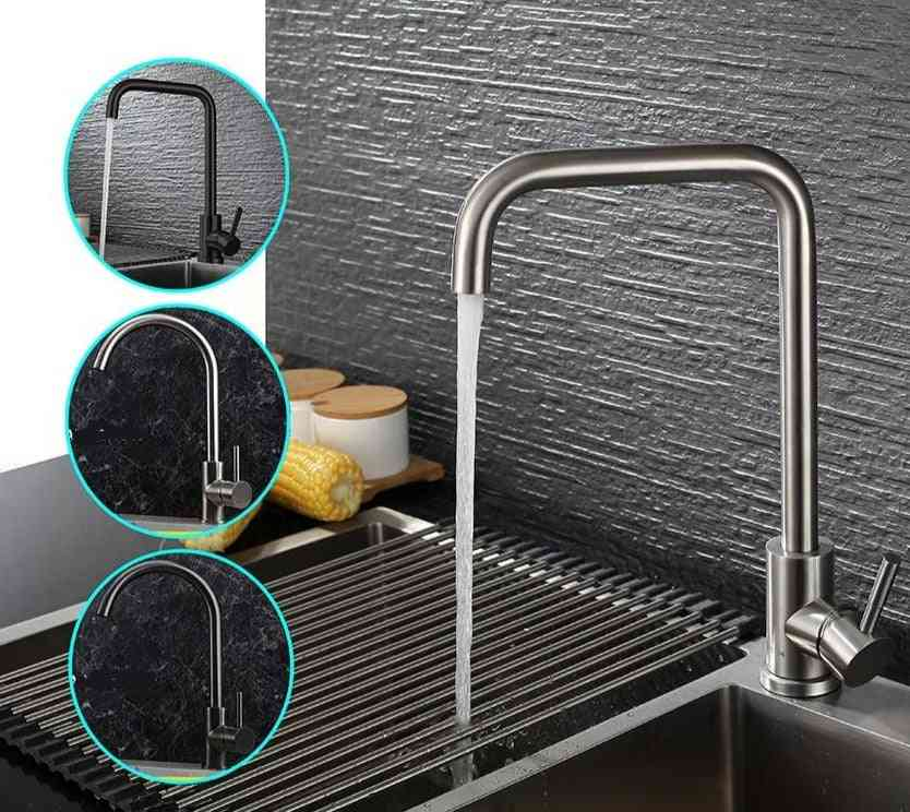 Stainless Steel, Single Handle Hole, Kitchen Faucet, Brushed Nickle Mixer Sink Tap