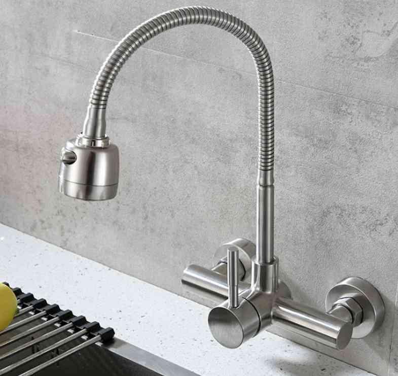 Single Handle Dual Holes Sus304 Stainless Steel Flexible Hose Kitchen Mixer Taps 6032