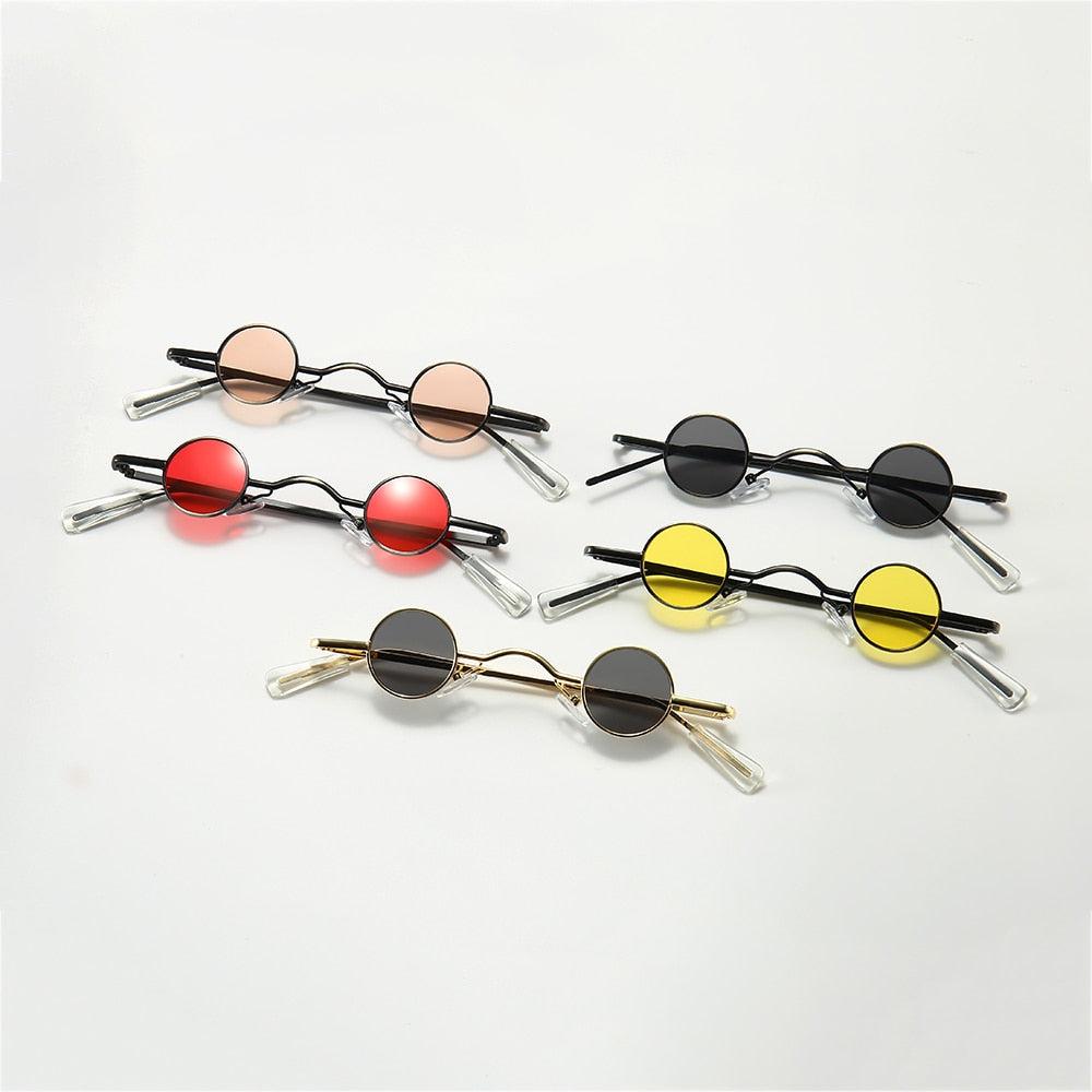 Retro Mini Round Men Metal Frame Small Round Framed Sun Glasses