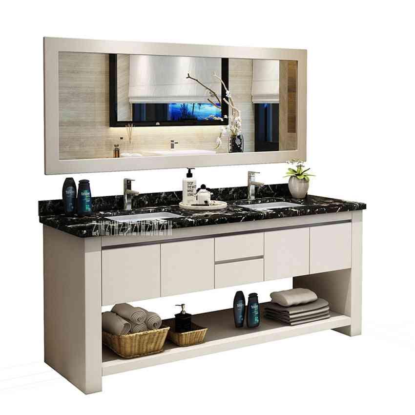 Solid Wood- Bathroom Combination, Wash Basin Cabinet With Double Basin