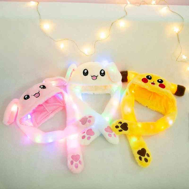 Cute Rabbit Hat With Light Air Float, Filling Ear Moving Cap