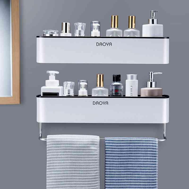 Bathroom Shelf Shower- Caddy Wall Mount, Shampoo Rack With Towel Bar